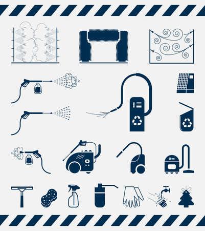 autolavado: Conjunto de iconos de lavado de coches. Colección de iconos de equipo usado para lavado de automóviles que presentan. Vectores