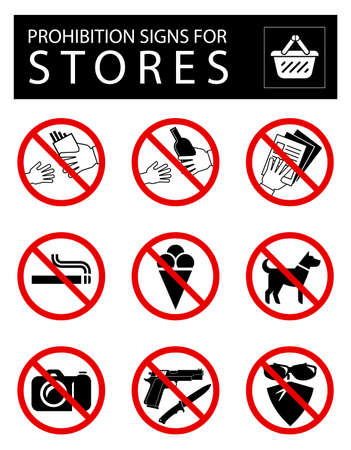 obligations: Set of prohibition signs for stores. Collection of signs of obligations. Signs of alerts. Illustration