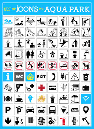 Very useful and usable set of icons for aqua parks. Collection of premium quality pictograms.