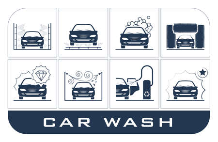 Collection of very useful icons presenting equipment used for car wash.
