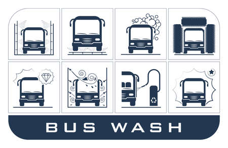 self operation: Collection of very useful icons presenting equipment used for car wash.
