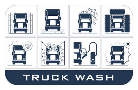 Collection of very useful icons presenting equipment used for truck wash.