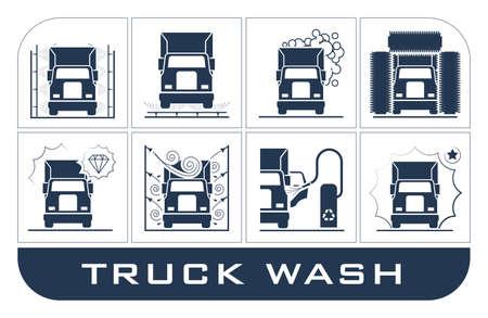 Raccolta di icone molto utili attrezzature utilizzate per il lavaggio camion che presentano. Vettoriali