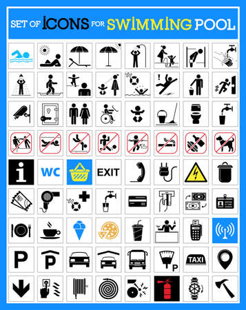 Collection of premium quality pictograms for swimming pools.