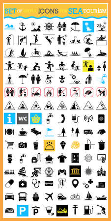 ban: Collection of premium quality pictograms for sea tourism.