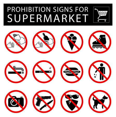 certain: Collection of signs that forbid certain objects or behaviour inside of supermarkets. Illustration