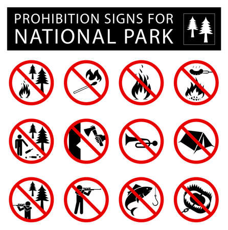 certain: Collection of signs that forbid certain objects or behaviour in national park.