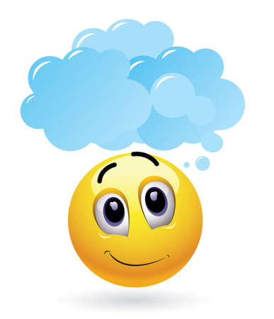 Smiley and imagination. Cloud with toughts. High quality vector illustration of thoughtful smiley with cloud above his head.