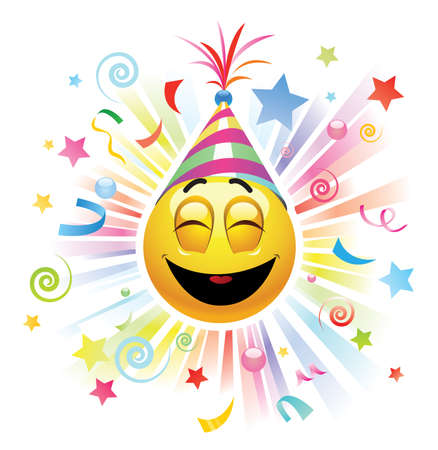 grimace: Smiley celebrating. Smiley being cheerful and having fun at the party. Illustration