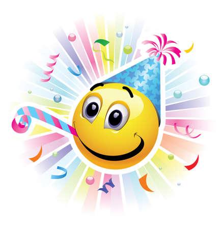スマイリーを祝っています。高品質のベクター イラストです。パーティーで楽しんでいる、元気な笑顔。