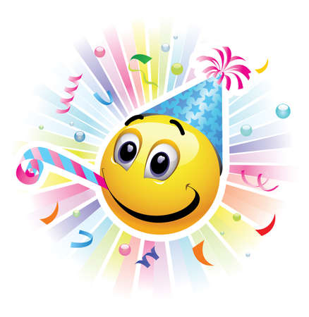 Smiley celebrar. ilustración vectorial de alta calidad. Smiley de ser alegre y divertirse en la fiesta.