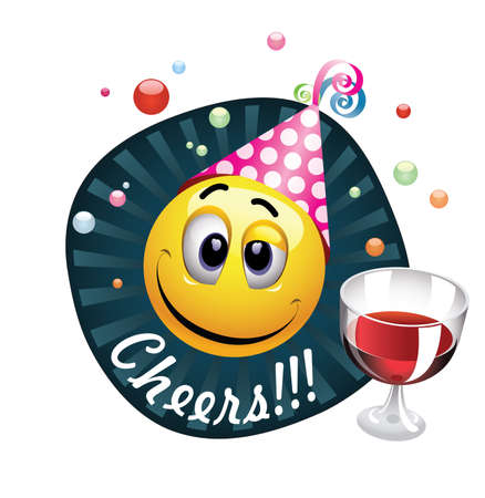 drunken: Smiley celebrating. Drunk smiling ball being cheerful and having fun at the party. Illustration