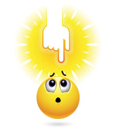 mano de dios: la mano de Dios que señala en la bola sonriente. Bola sonriente y mirando a orar refugio.