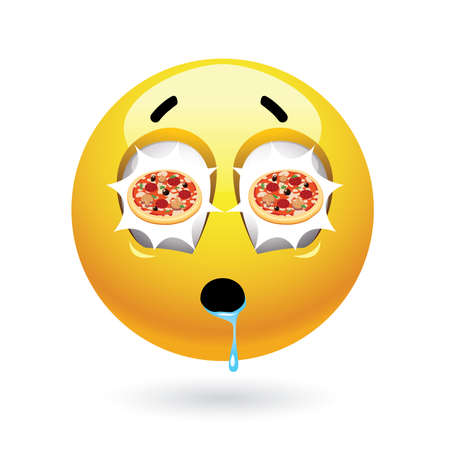 overeating: Hungry smiley with pizza reflecting in it's eyes. Tasty food. Humoristic illustration of food loving smiley. Illustration