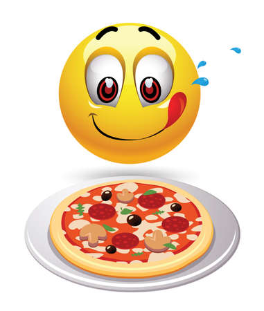Hungry smiley looking at tasty pizza. Humoristic illustration of food loving smiley. Vector illustration. Illustration