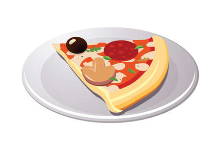 pleasing: Slice of pizza. Vector illustration of tasty pizza.