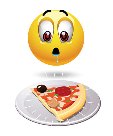 greedy: Humoristic illustration of food loving smiley. Hungry smiley looking at tasty pizza.
