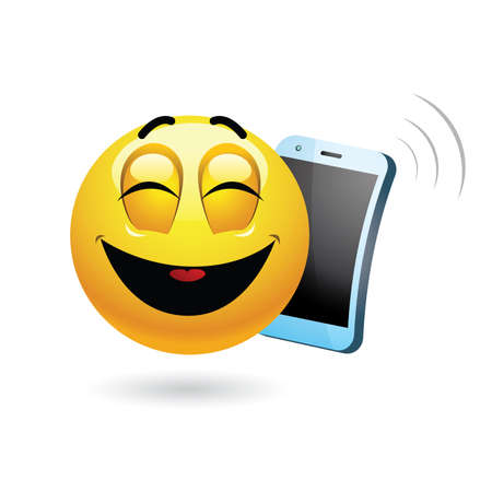 laugh out loud: Smiley talking on a phone.  illustration of a smiley having funny phone conversation.