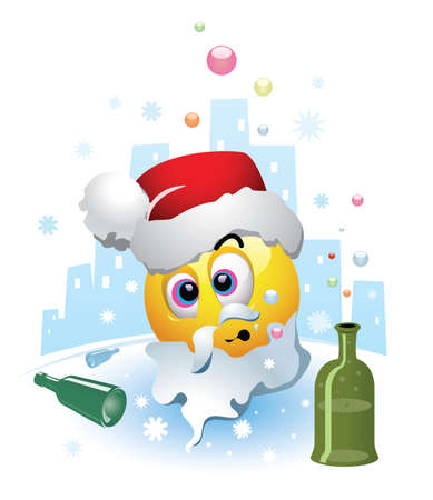 Drunk smiley dressed as a Santa Clause. Smiley after party where he drunk too much. Humoristic illustration.