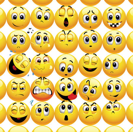 smileys: Smileys with different face expression stuck with each other in a group.