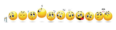 Smiling balls waiting in a row.  set of smiley icons with different face expression lined up in a row. Illustration