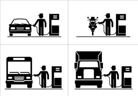 Gas station attendant. Collection of premium quality pictograms for gas station.