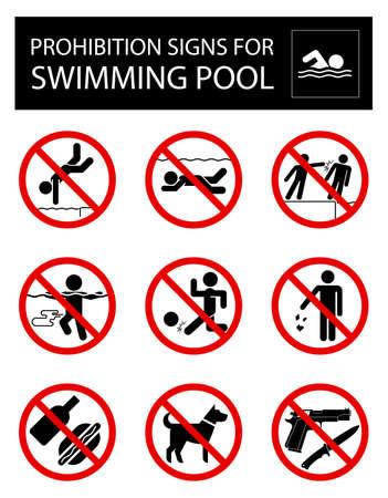 Colección de muestras que prohíben ciertos objetos o comportamientos en el interior de la piscina.