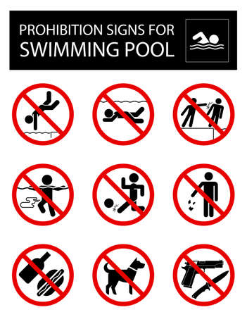 Collection of signs that forbid certain objects or behavior inside of swimming pool.