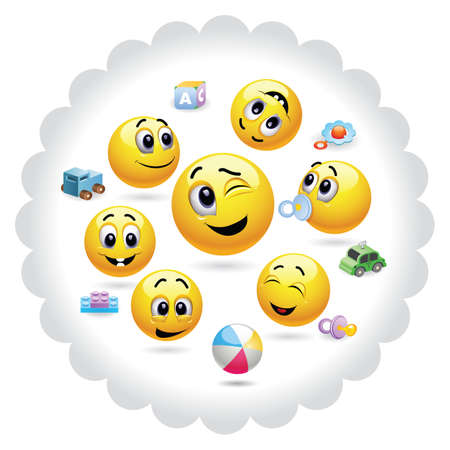 smileys: Group of little kids in kindergarten. Nursery. Baby world. Smileys presenting tutor with kids in kindergarten. Illustration
