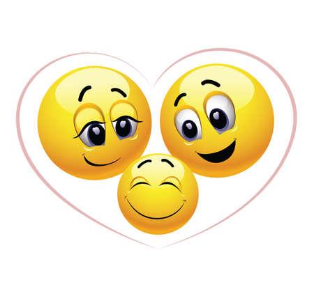 笑顔の家族。幸せな家族のベクトル イラストはスマイリー記号トラフを提示しました。子育てを楽しんでいます。幸せな子。