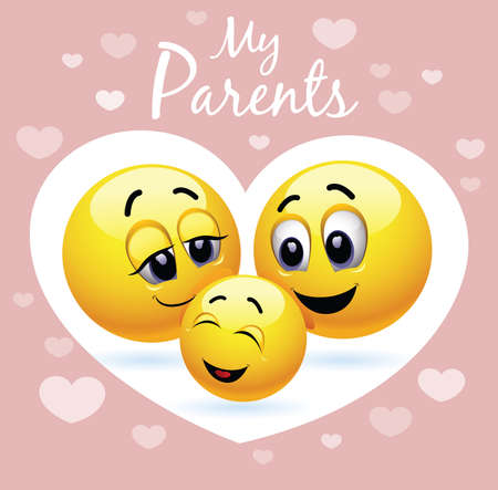 Enjoying parenting. Smiley family. Vector illustration of a happy family presented trough smiley symbols. Happy child.
