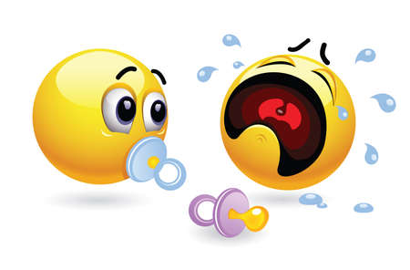 yong: Two smiley toddlers with soothers. Humors illustration of babies presented through smileys. Vector illustration of cute smiley babies. Illustration