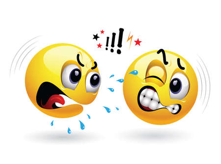 brawl: Smileys arguing. One smiley yelling at another. Humors vector illustration. Illustration