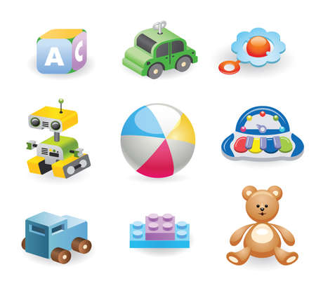 A variety of childrens toys. Set of different toys for children. Vector illustration.