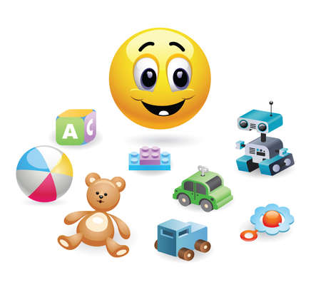 Child playing with toys. Illustration of a smiley baby playing. Baby world. Set of different toys for children. Illustration