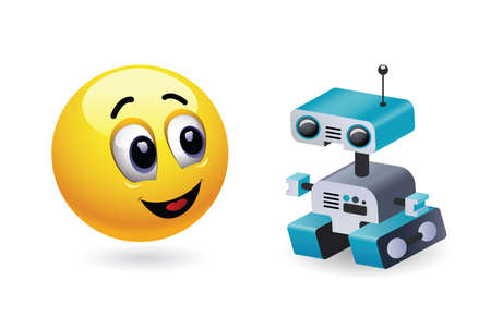 baby playing toy: Boy playing with robot toy. Baby world. Smiley kid playing with his favorite high tech toy. Illustration