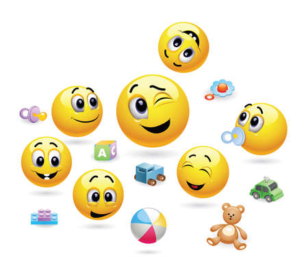 smileys: Group of little kids in kindergarten. Nursery. Baby world. Smileys as a tutor with kids in kindergarten. Happy childhood. Illustration