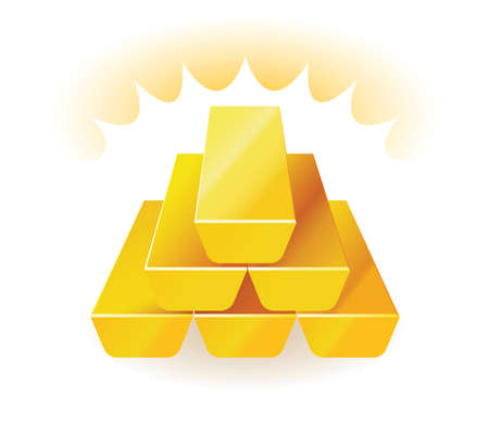 global finance: Gold bars. Vector illustration of wealth presented with gold bars stacked one on top of the other.