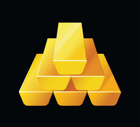 ganancias: Barras de oro. Ilustración del vector de la riqueza se presenta con barras de oro apiladas una encima de la otra.