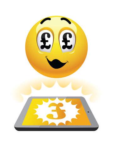 Freelance earning. Illustration of smileys earning over the net. Work from home.