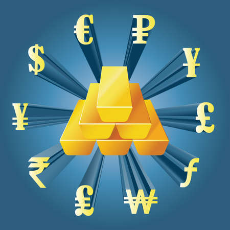 gold bars: Vector illustration of different currencies and gold bars. Money exchange. The worlds major currencies. The value of money. Illustration