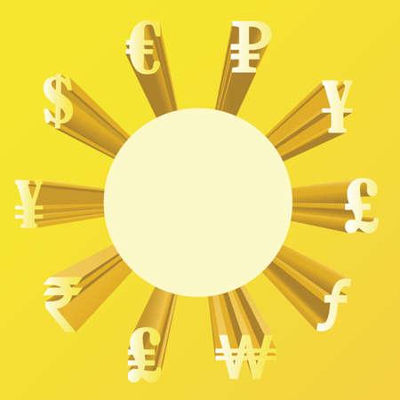 ganancias: Vector illustration of different currencies.  Money exchange. The world`s major currencies.