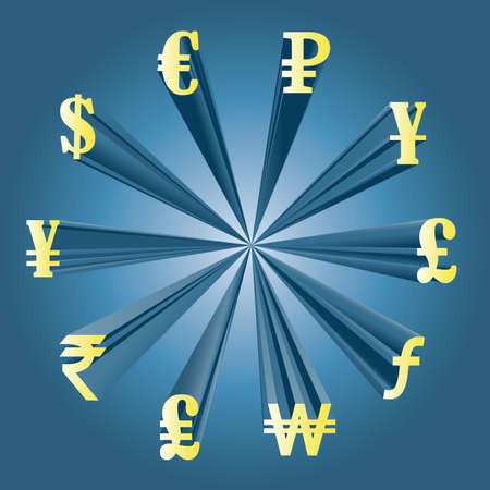 Vector illustration of different currencies. Money exchange. The world`s major currencies. Illustration