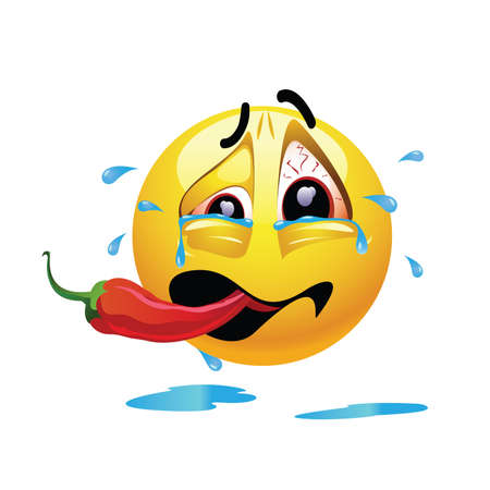 causing: Very hot chili pepper causing pain and fear with smiley who eats it. Humors vector illustration.