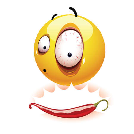 gratified: Very hot chili pepper causing pain and fear with smiley who eats it. Humors vector illustration.
