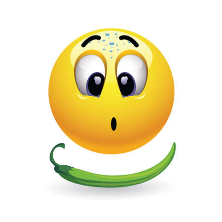 gratified: Very hot chili pepper causing pain and fear with smiley who eats it. Humors vector illustration. Hot pepper challenge.