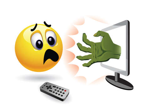 Smiley ball watch horror movie. Zombie hand coming out of TV in front of stunned and frightened smiley.