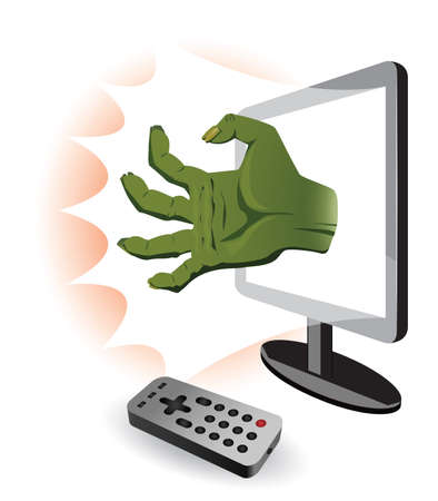 coming out: Watching of horror movie. Zombie hand coming out of TV. Illustration