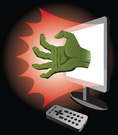 horror movie: Watching of horror movie. Zombie hand coming out of TV. Illustration