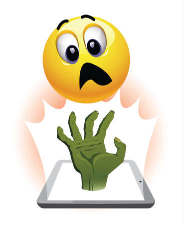 gratified: Smiley ball watch horror movie. Zombie hand coming out of tablet in front of stunned and frightened smiley. Illustration